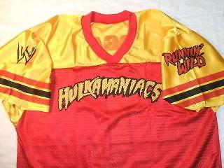hulk hogan red hulkamaniacs jersey shirt runnin wild