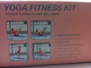 Now 8 Piece Yoga Fitness Kit New Mat Band Guide DVD Ball Guides