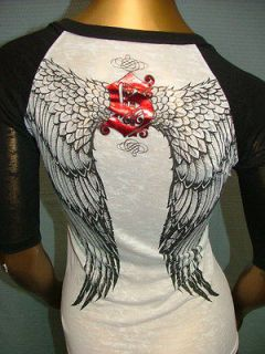 68 SINFUL by AFFLICTION Sexy ANGEL WINGS Biker BURNOUT T SHIRT TEE