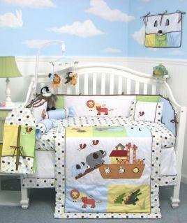 SoHo Noah Ark Baby Crib Nursery Bedding 10 Pcs SET ** Reversible Into
