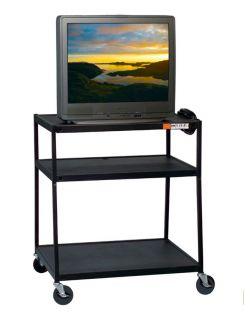 Balt TV Cart 48H Electric with Safety Strap Black