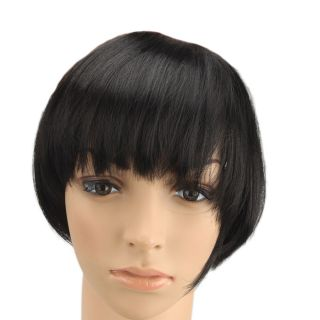 Fashion Women Extension Clip Cosplay Party Hair Straight Bang Black