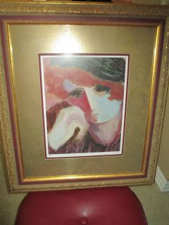 Barbara A Wood Lithograph Rachael Numbered Signed Matted Framed