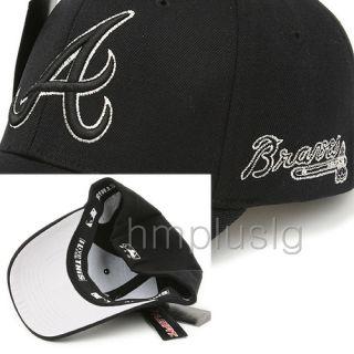 Atlanta Braves Flex Fit Ball Cap Hat MB Silver Black