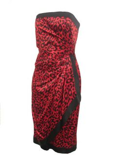 AJ Bari Red Black Leopard Print Strapless Silk Cocktail Dress 8 New $