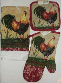 Kitchen Towel Pot Holder Oven Mitten Cooking 4 Piece Set