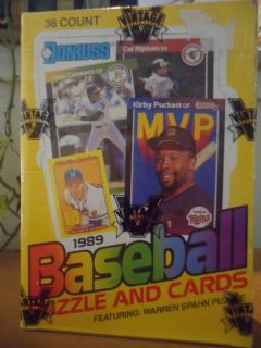1989 DONRUSS BASEBALL PUZZLE AND CARDS 36 COUNT WAX PACKS BOX FACTORY