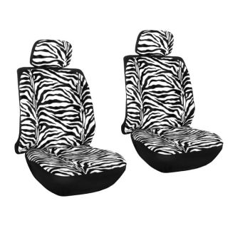 Black Animal Print Low Back Front Bucket Car Seat Covers Set