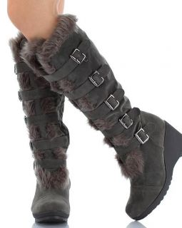 Sexy Women Platform Mid High Wedge Heel Suede Boot Shoe