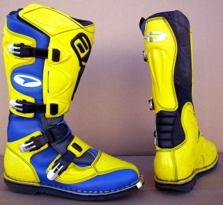 AXO RC5 Boots Off Road Dirtbike Motocross Yellow Blue Black Size 10