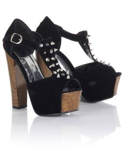Ladies Platform Heel Velvet Stud Peep Toe Shoes Black