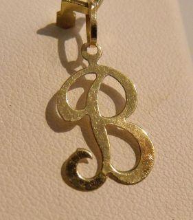 14k Gold Diamond Cursive Letter B Charm Pendant