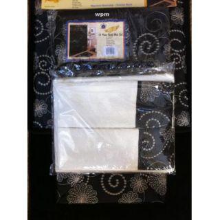 Piece BATHROOM rug set Black flower bath rugs shower curtain & towels