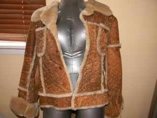 BABY PHAT DESIGNER LEATHER AND FUR JACKET / COAT STUDDED SIZE L LARGE