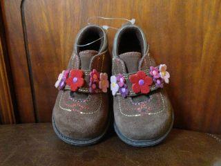 New Baby Deer Dark Brown Flowered Infant Baby Girl Casual Shoes Sz 2