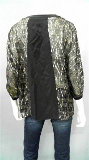Aaron Ashe Taylor Misses M Silk Blouse Top Gold Black Metallic 3 4