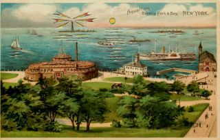 City Hold to Light Aquarium Battery Park Bay Vintage Postcard