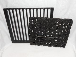 LARGE 6 BY 9 1 2 CAST IRON BACON PRESS HAMBURGER GRILL PRESS WITH RACK