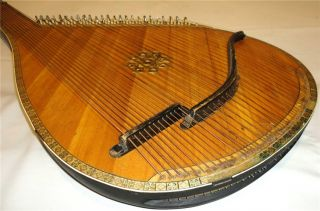 Antique Old Ukrainian Bandura 55 Strings Original Folk Instrument Kyiv