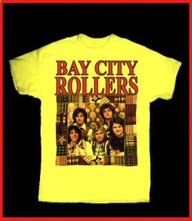 Bay City Rollers Retro Yellow T Shirt Glam TV Power Pop