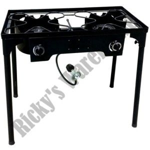 Double Gas Burner Stove Portable Camping Outdoor Propane Cooking Stand