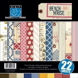 Bazzill Basics Beach House 12x12 Paper Pack New 2012