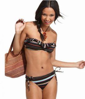 Roxy Tribal Print Bandeau Bikini Swimsuit Set M Medium New $82