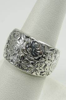 925 Sterling Silver Flower Band Ring Wide Rose Daisy Leaves Bloom Sz 8