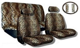 Tan Animal Print Complete Car Seat Cover Set