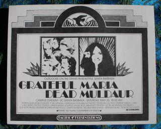 Dead Vintage RARE Handbill Concert Poster Santa Barbara U C s B