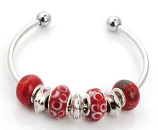 Glass Silver Plated European Beaded Charm Bracelet Bangle s 678