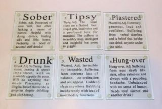Stages of Drinking Glass Coasters Set Barware Novelty Humorous