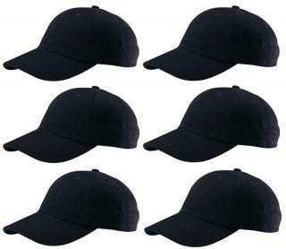 LOW PROFILE BASEBALL HAT CAP ADJUSTABLE STRAP BLACK LOT OF 6 HATS