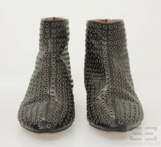 Azzedine Alaia Black Leather Grommet Zip Back Ankle Boots Size 37