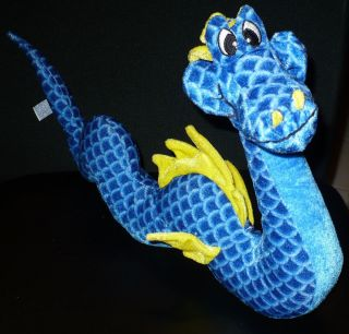 Toy Co Stuffed Plush Blue Yellow Scale Winged Water Dragon