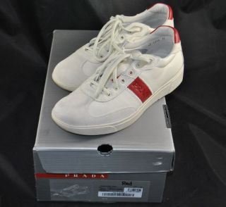 Prada 4E 1315 Casual Sneakers White Red Genuine Leather Shoes Size 7 5