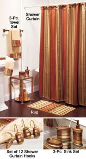 20pc Copper Spice Bathroom Set Shower Curtain Towel Rug