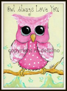 Nursery art Personalized pink baby OWL whimsical girl wall decor print
