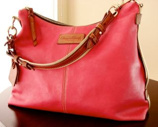 Dooney & Bourke JULIETTE Hobo Bag FUSCHIA + Bridle Leather Large EUC