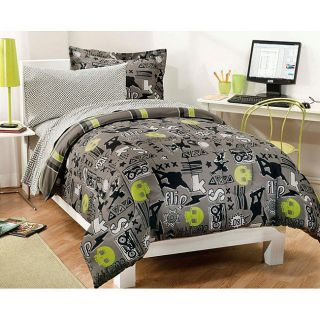 Extreme Sport Twin Green Black Bed in A Bag Teen Boys Bedding