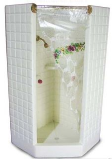 Dollhouse Mini Bathroom Shower Stall Tiled Bath Furniture w Curtain