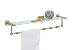 new satin nickel glass bathroom shelf and towel bar