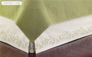 Martha Stewart Veranda Vines Embroidered Bedskirt Queen