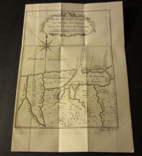 Old 1754 Antique Map Plan de Port Royal Baye de Campeche Mexico