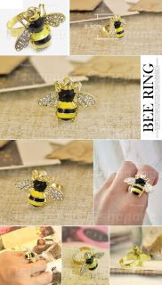 Ladies Lovely Cute Crystal Rhinestone Yellow Bee Design Ring