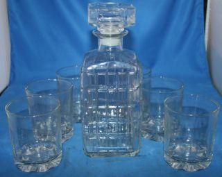 Barware Whiskey Wine Decanter Beverage Set w 6 Glasses
