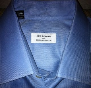 Impeccable Ike Behar for Neiman Marcus Blue Dress Shirt Size 18 35