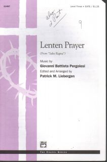 Lenten Prayer Giovanni Battista Pergolesi Patrick M Liebergen Sheet