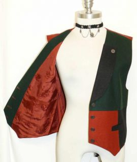 Baur Red Green Black Boiled Wool Women Austria Sport Coat Dress Vest
