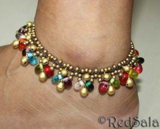 Handmade Anklet Ankle Bracelet Bells Glass Beads Colors
